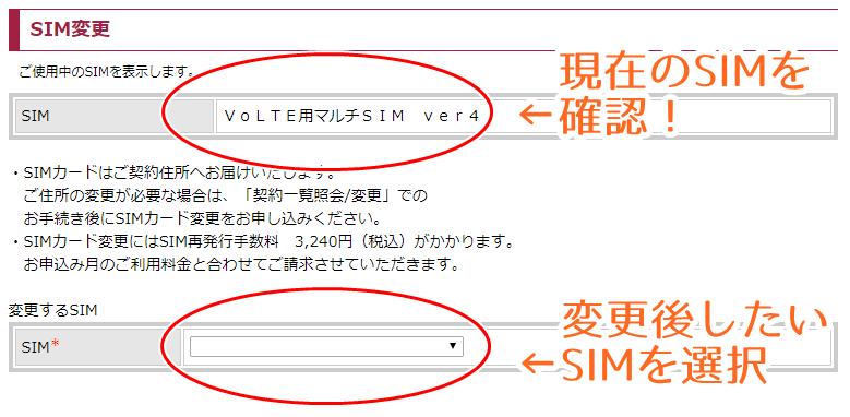 SIMカード変更申込画面
